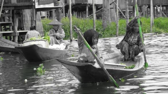 Girls on Boat at Inle Lake